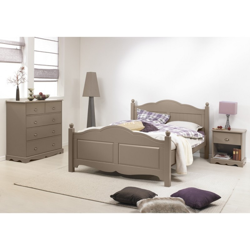 chambre taupe lit 140 commode