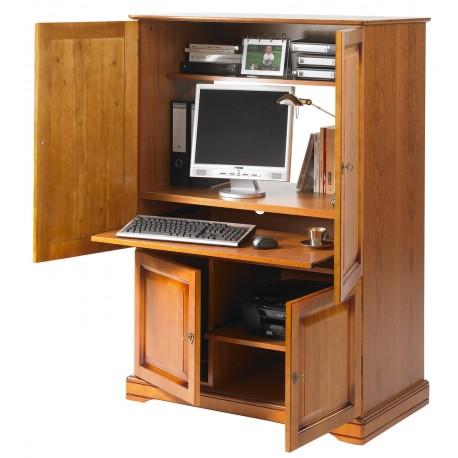 armoire informatique 4 portes merisier beaux meubles pas chers