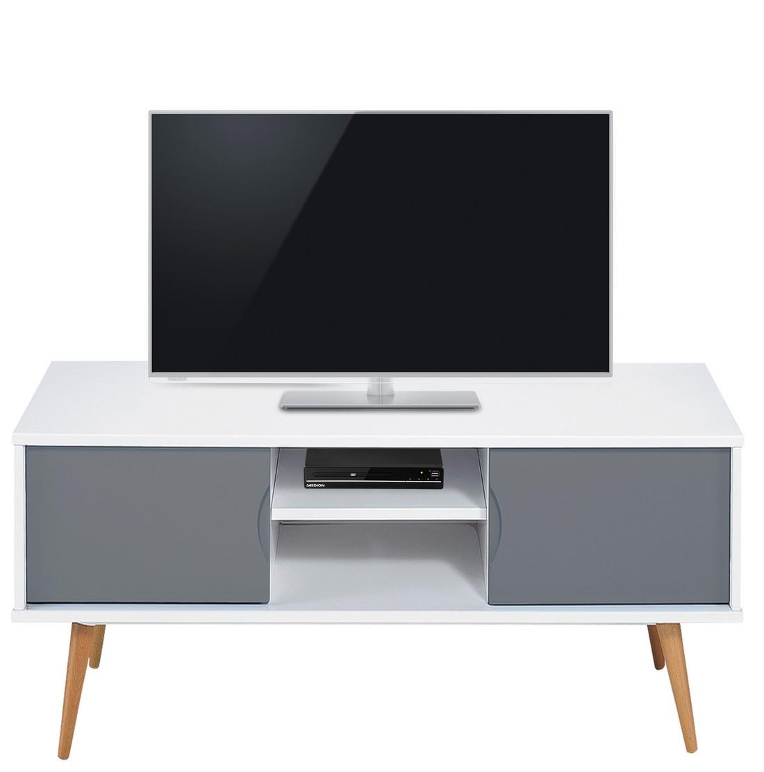 meuble tv blanc gris 2 portes 4 pieds chene vintage