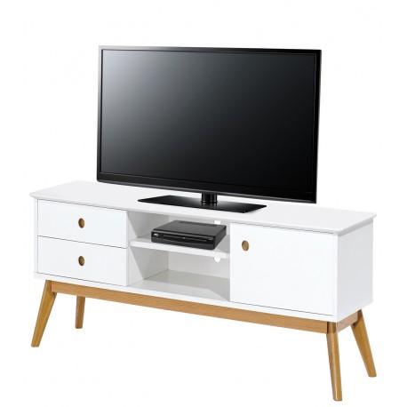 meuble tv blanc 1 porte 2 tiroirs 4 pieds chene vintage