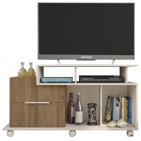 meuble tv 120 cm 2 portes blanc chene beaux meubles pas chers