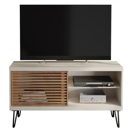meuble tv 120 cm blanc porte persiennes beaux meubles pas chers