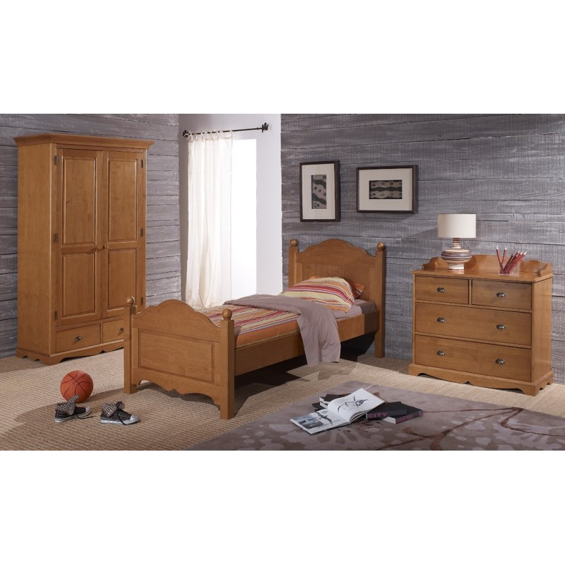 pin miel lit armoire commode