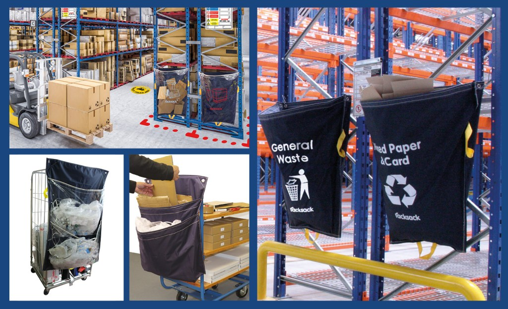 racksack waste collection and segregation in warehouses