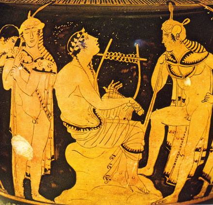Orpheus and his Band playing a gig with their penises hanging out