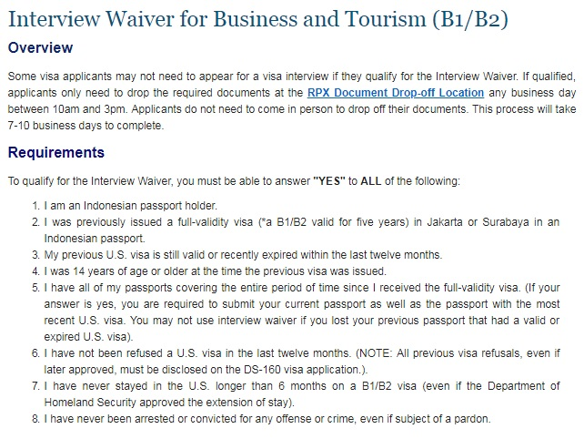 Interview waiver visa AS 2