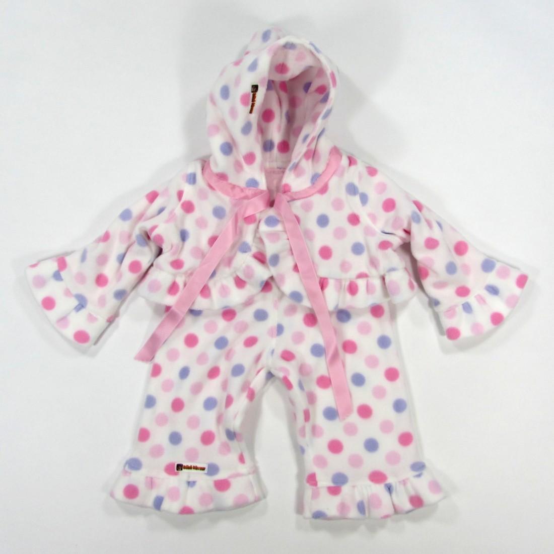 paletot pantalon bebe fille de 3 mois polaire blanc et pastilles rose