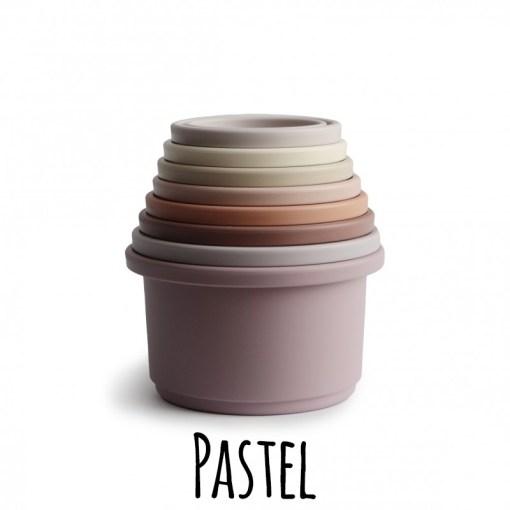 Mushie stapeltoren stacking cups pastel