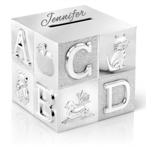 Verzilverde spaarpot kubus met naam