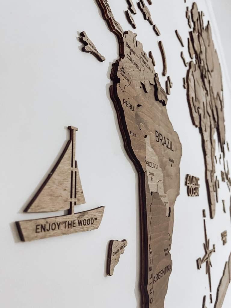 mappa del mondo da parete Enjoy the wood- World map for wall