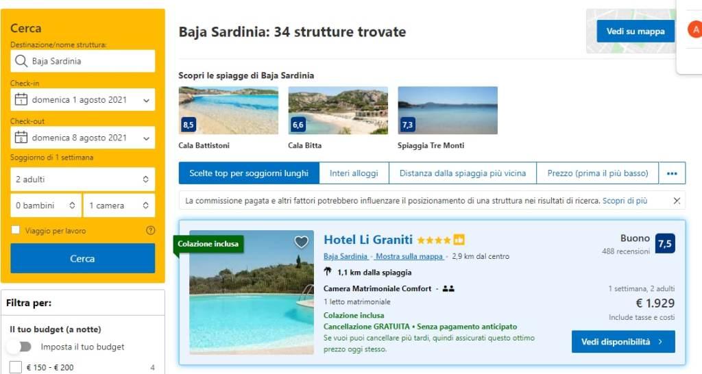 Vacanza gratis- comparazione booking