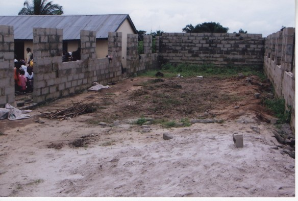 Our second classroom building in Bane under construction in 2005.