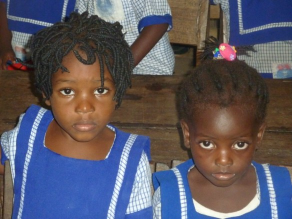Deborah Barisene and Loveth Niamah, nursery 1 students in Bane, June 2012.