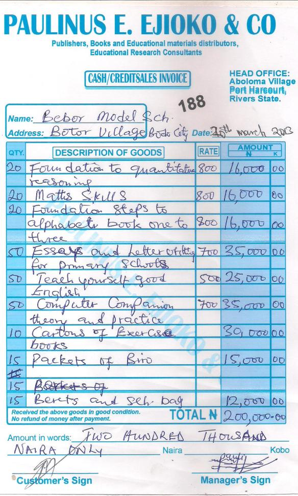 A receipt from a local bookseller for some of the books and materials our February 2013 funding helped purchase for scholarship students at the school in Bodo.