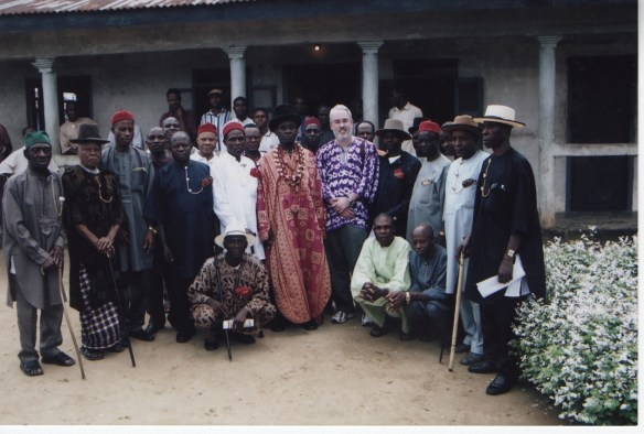 Scott Pegg and members of the Bodo Council of Chiefs in August 2005.