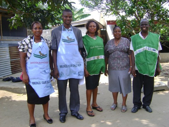 Dr. Nubari Nabie (2nd from left), Rev. Moses Nyimale Lezor (far right) and other members of our health immunization team in Bodo.