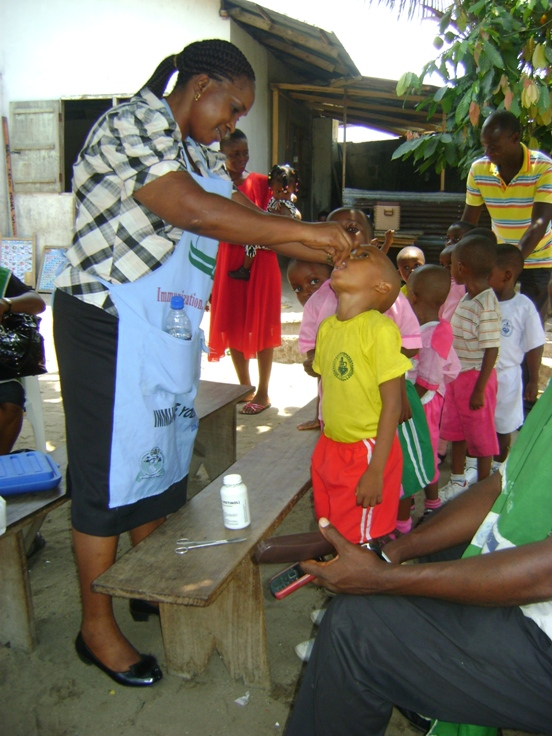 Students in our pilot health program like the boy shown here also received polio immunizations.