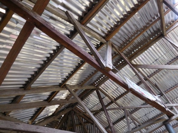 The newly installed rust-proof roof shown from the inside of the assembly hall building in Bodo in July 2015. All seven of our classroom buildings (3 in Bodo, 2 in Bane, 2 in Bori) now have rust-proof roofs that should never need replacing.