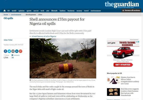 Headline in The Guardian newspaper after Shell settled the Bodo law suit in January 2015.