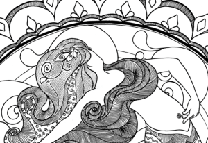 Mermaid adult coloring pages by Red Ted Art