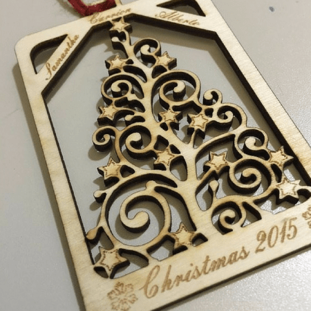 laser cut wood christmas ornament
