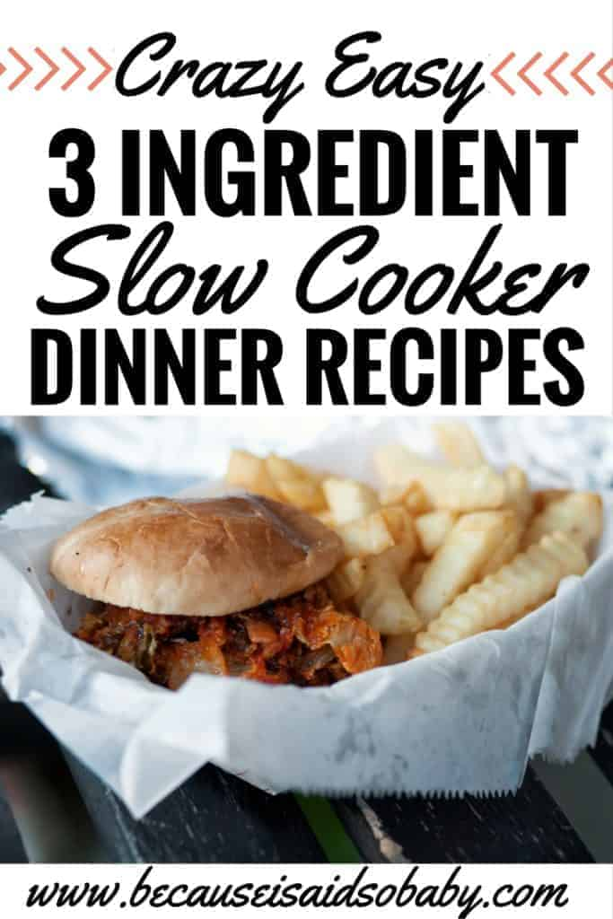 In need of some last minute dinners you can just throw in the crockpot? We've got you covered with crazy easy 3 INGREDIENT slow cooker dinner ideas . Click through to check them out!
