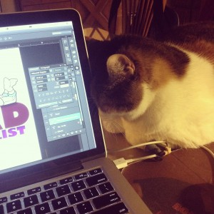 Miss Buttons is my blogging buddy, She likes to hang with me when I work but she snores :)