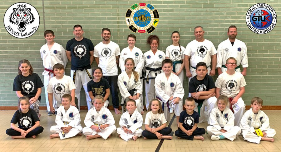 Photos show some of our Monday class students, with many sporting their Free Beccles Taekwon-do T-shirts which they were awarded when they came for a Free Come and Try session!