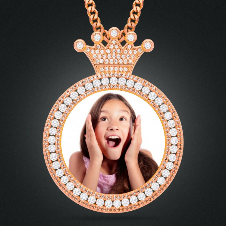 custom photo upload design crystal inlaid iced out daughter memory pendant nameplate necklace