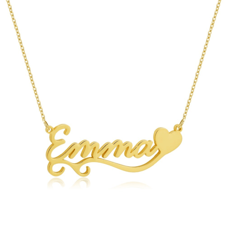 Cute Single Heart Custom Name Necklace For Women Love Name Gold Necklace