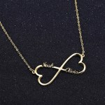 double heart two name necklace personalized simple name chain