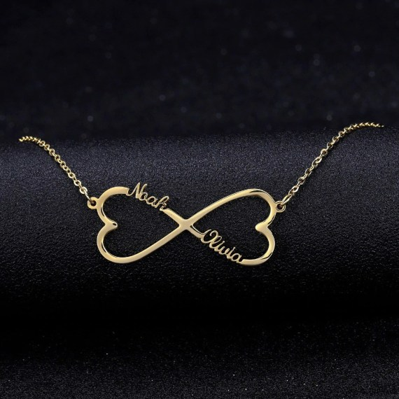 mirrored heart two hearts two name necklace simple chain