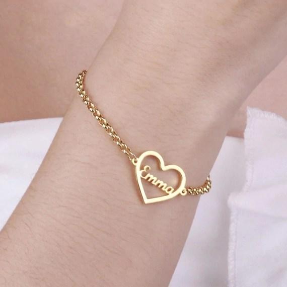 Beautiful Name Bracelet My Heart Pendant Simple Chain Jewelry Women's Name Bracelet
