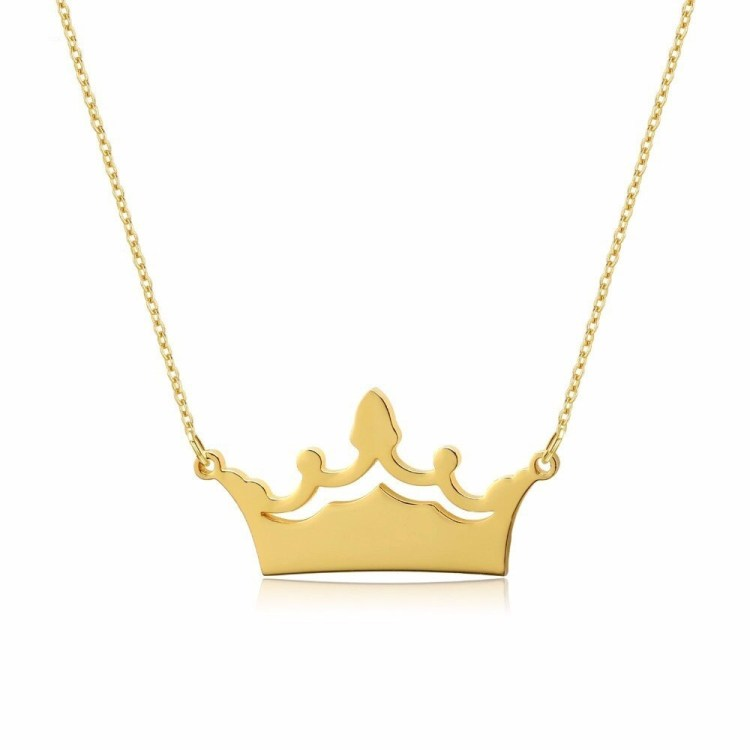 Custom Engraved Name Chain For Women Crown Nameplate Pendant Simple Necklace