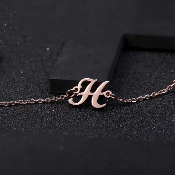 Custom Letter Bracelet My Casual Wear Letter Pendant Best Quality Shine Simple Chain