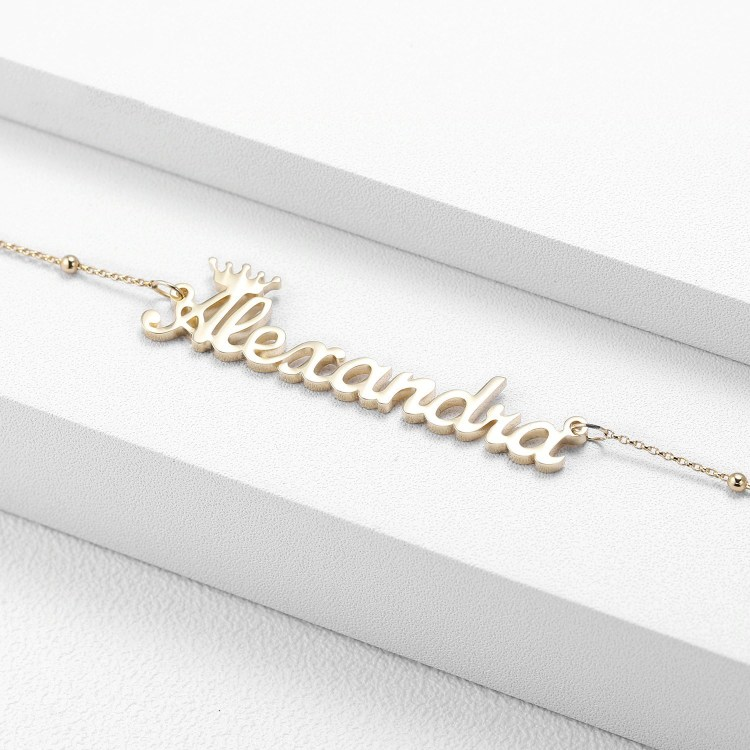 Custom Name Necklace Crown Name Necklace For Women Gold Silver Rose Gold