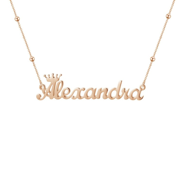 Custom Name Necklace Simple Crown Name Necklace For Women
