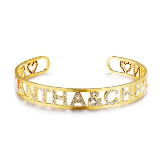 Custom Two Name Adjustable Sparkling Bracelet Heart Name Bracelet My Name Bracelet Best Quality