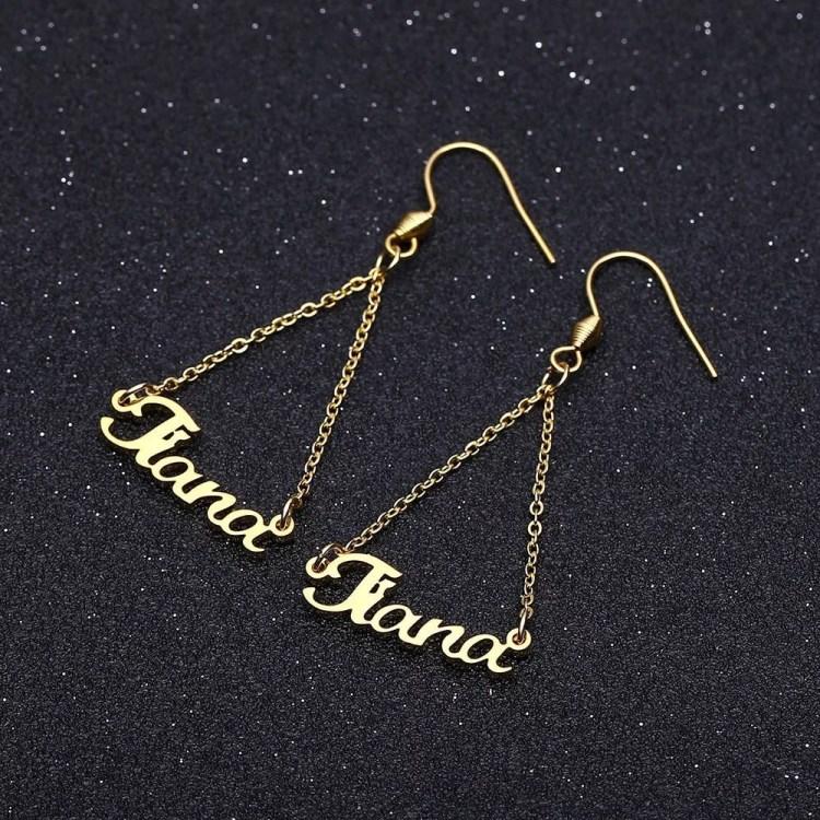 Custom Women Name Earrings In Gold Silver Rose Gold Beautiful Earring