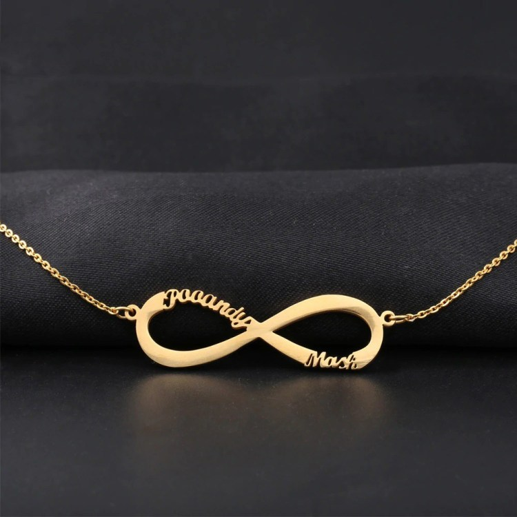 Gold Infinity Custom Multiple Name Necklace Women's Name Necklace Infinity Love