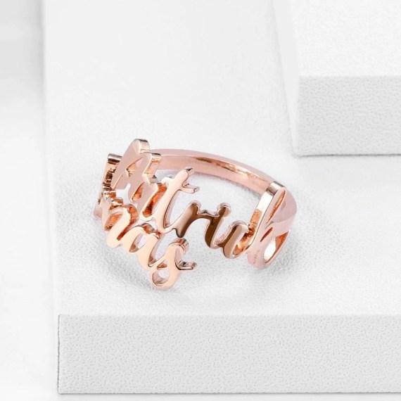 Gold Silver Rose Gold Custom Name Spring Ring Layer Name Ring