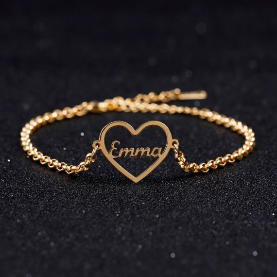 Gold Silver Rose Gold My Simple Design Name Bracelet Heart Name Pendant Design Bracelet