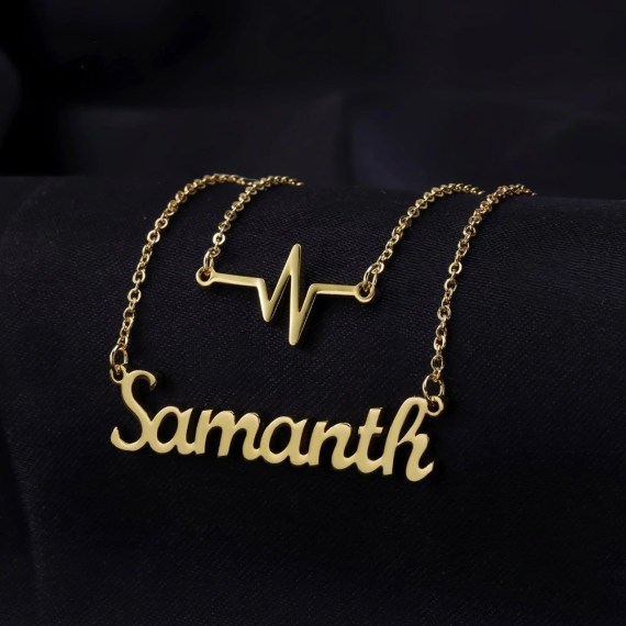 My Heart Beat Custom Name Necklace ECG Name Necklace Daily Use Jewelry