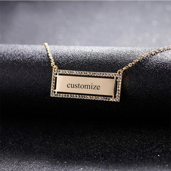 My Name Engraved Custom Nameplate Pendant Sparkling Name Necklace Women's Jewelry