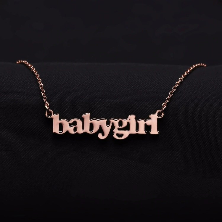 Rose Gold Custom Name Necklace For Women Shine My Name Necklace For Love