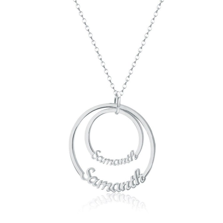 Two Name Double Discs Circle Pendant Necklace In Gold Silver Rose Gold