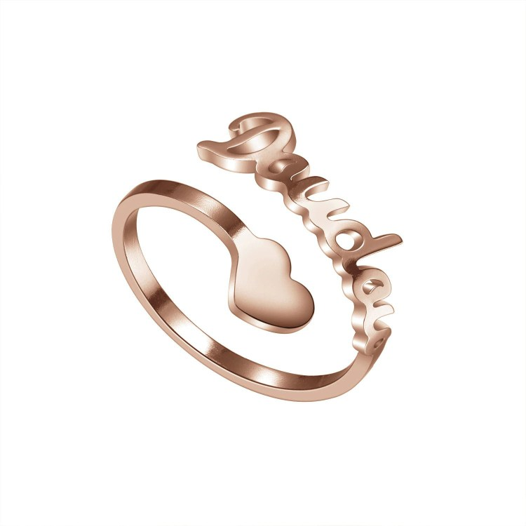 Personalized Name Ring For Women With Custom Name With Bottom Heart