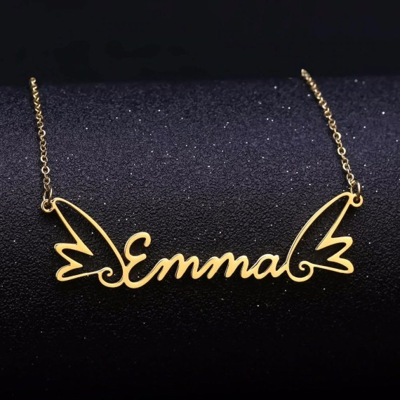Angel Wings Custom Name Necklace Blessing Name Necklace My Beautiful Custom Name Necklace Gold Silver Rose Gold