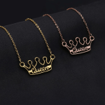 Beautiful Custom Name Necklace My Name Necklace Shine Pendant Queens Crown Name Necklace Gold Silver Jewelry