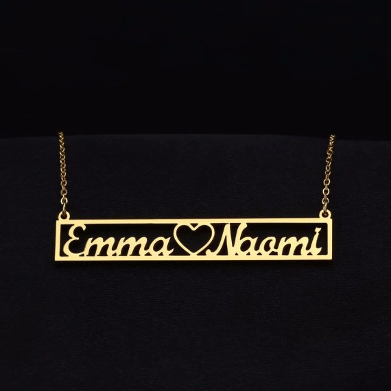 Hollow Heart Custom Two Name Love Necklace Chain Nameplate My Loving Name Necklace